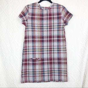 ZARA Trafaluc Red Blue Plaid Mini Dress w/ Pocket